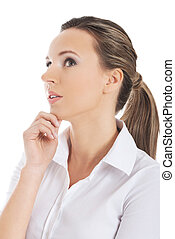 Businesswoman thinking - Young blonde beautiful...