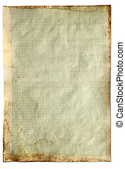 Old vintage stained graph paper isolated on a white background.