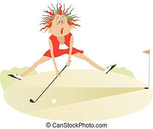Good day for playing golf 3 - Comic cartoon women is playing...