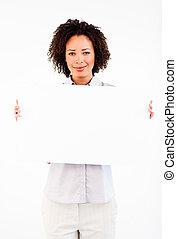 Friendly businesswoman holding big businesscard - Friendly...