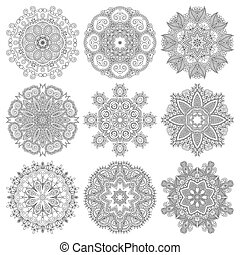 Circle lace ornament, round ornamental geometric doily...