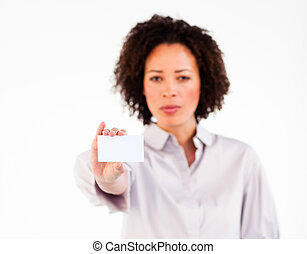 Serious businesswoman showing white card at the camera