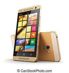 Modern golden touchscreen smartphone - Creative abstract...