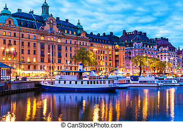 Evening scenery of Stockholm, Sweden - Scenic summer evening...