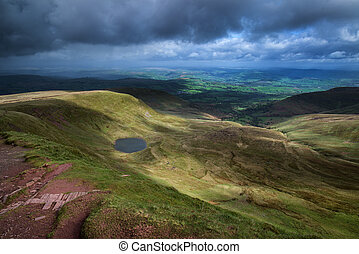 Beautiful landscape of Brecon Beacons National Park with...