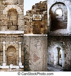Set of Roman open and immured arch doorways in Side, Turkey
