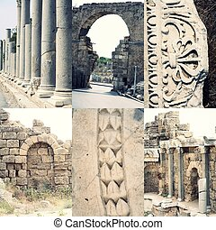 Ancient roman architecture - ruined buildings with pillars...