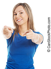 Woman pointing on you - Blonde woman pointing on you