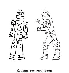 Robots - A drawing of two robots in different poses