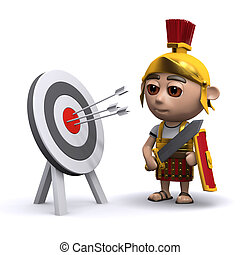 3d Roman soldier studies the target - 3d render of a Roman...