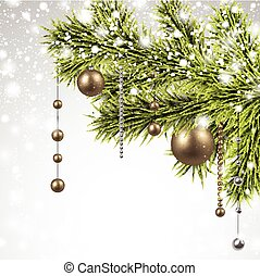 Christmas background with spruce branches - Winter...