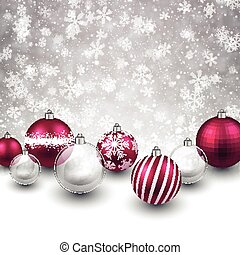 Winter background with magenta christmas balls. - Winter...