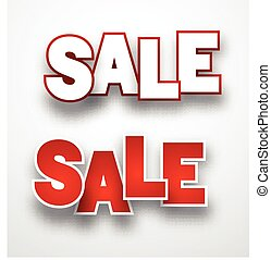 Paper sale sign - Sale signs over paper white background...
