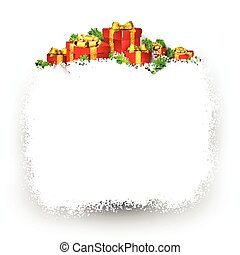 Snow frame with red gift boxes - Christmas frame background...