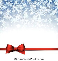 Christmas blue background with gift bow - Winter blue...