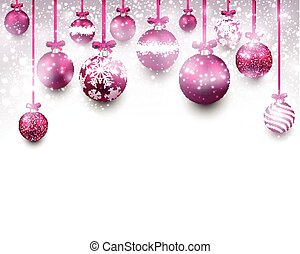 Arc background with magenta christmas balls - Abstract arc...