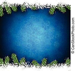 Fir and snow christmas frame - Detailed frame with fir Blue...