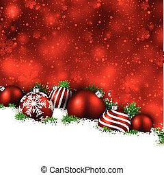 Red winter background with christmas balls. - Abstract red...