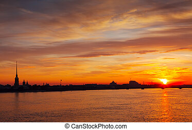 Peter and Paul Fortress in morning - St. Petersburg. Peter...