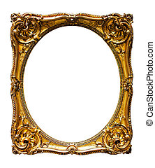 oval gold picture frame. Isolated over white