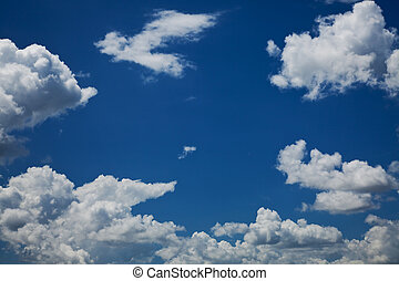 blue sky with white clouds - blue sky with white fluffy...