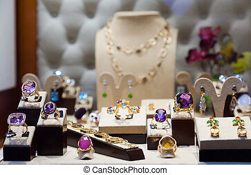 Golden jewelry with gems