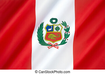 Flag of Peru - adopted by the government of Peru in 1825....