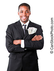 Handsome businessman with dollars in a pocket - Handsome...