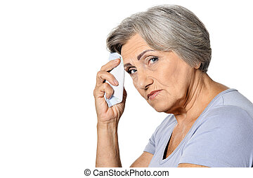 woman fell ill - Mature woman fell ill on white background