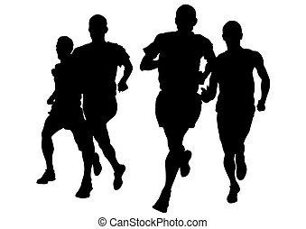 Run men - Athletes on running race on white background