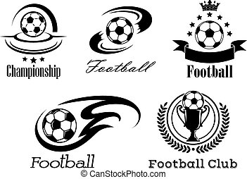 Football and soccer emblems or badges in black and white...