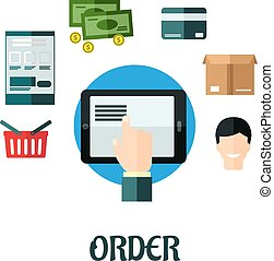 Order and shop online flat concept showing a hand ordering...