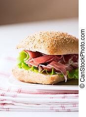 Prosciutto sandwich on plate