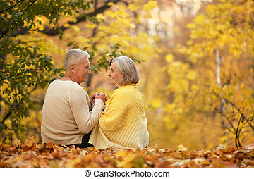 Cute elderly couple walking in autumn park