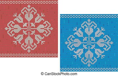 Snowflake knitted pattern - Red and blue detailed snowflake...