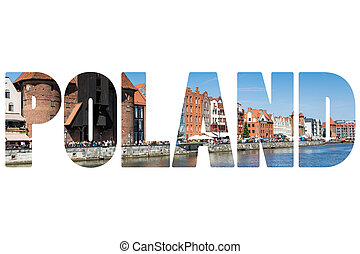 Word POLAND Colorful houses in Gdansk.