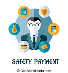 Safety Payment flat concept