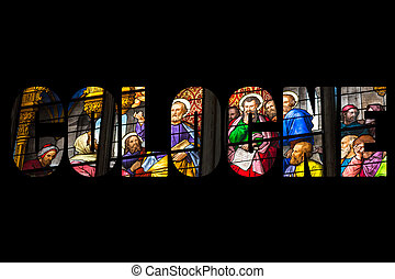 Word COLOGNE Stained glass church window