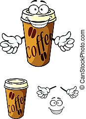 Takeaway cup of coffee in cartoon style for fast food or...