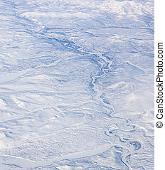 Aerial view of northeast Siberia