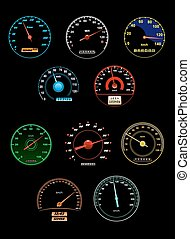 Speedometers set with dials and gauges with needle pointers...