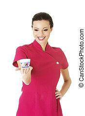 Visage artist holding cream container - Happy visage artist...