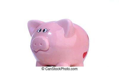 Piggy Bank spinning - Pink Piggy bank Turning around