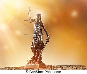 Themis in spotlight, law concept. - Themis in spotlight -...