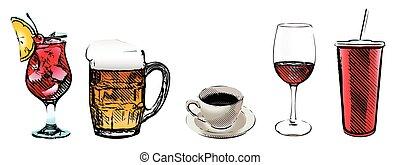 drinks vector illustratrion on white