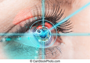 Close-up woman eye with laser medicine - Close-up woman eye...