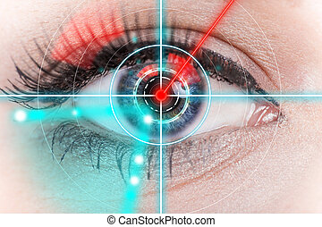 Close-up woman eye with laser medicine. - Close-up woman eye...