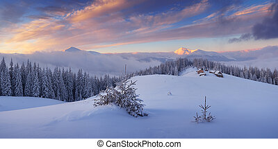 Frosty Morning in the mountains - Winter landscape in the...