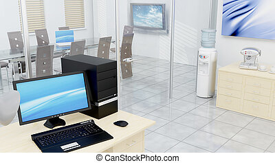 Conference room - 3D render of a conference room interior