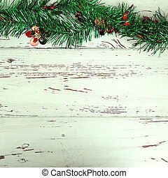 christmas decoration on white wood weathered background
